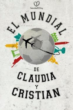 El logo de la boda, con un mundo hecho a la medida de Claudia y Cristian, un mundo de fútbol y de viajes: un mundial!