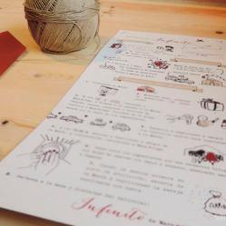 Detalles de la receta, todos los dibjuos hechos a mano para la ocasión, imitando un libro de recetas ilustrado.