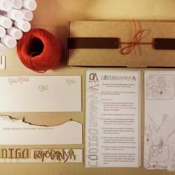 Todas las piezas de la invitación (varias unidades): cajita, maqueta, instrucciones, mapa, tubo de ensayo y cordón.