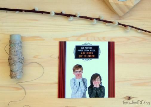 Portada de la invitación, con los hijos de Davinia y Jordi muy metidos en el papel!